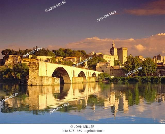 River Rhone, Bridge and Papal Palace, Avignon, Provence, France