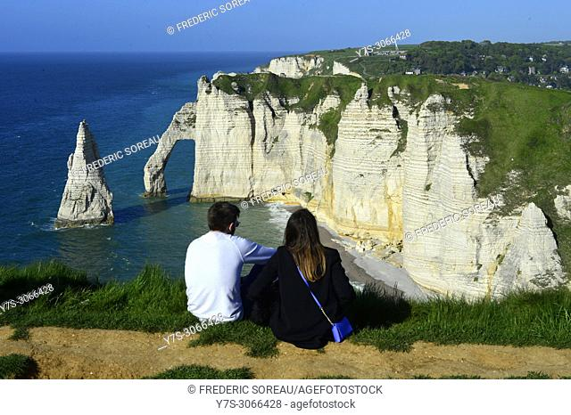The cliffs of Etretat on the Normandy coast,France,Europe