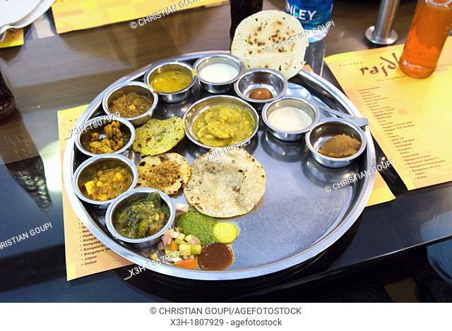 vegetarian thali served in Rajdhani restaurant, Connaught Place, New Delhi, India, Asia