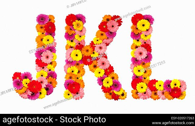 Letter J K L - flower alphabet isolated on white
