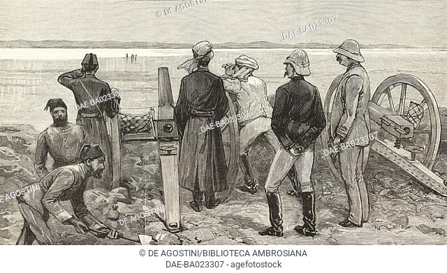 Baker Pasha (Valentine Baker) and his staff in the lines at Trinkitat watching spies carrying an ultimatum to the enemy before the advance to relieve Tokar