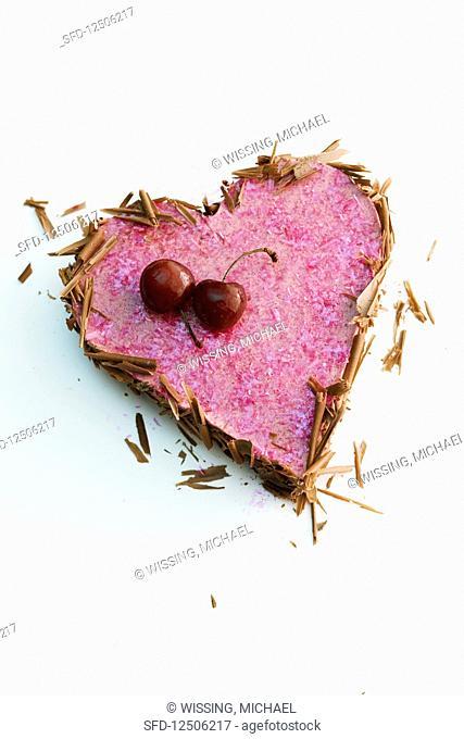 Cherry cream heart with chocolate sprinkles