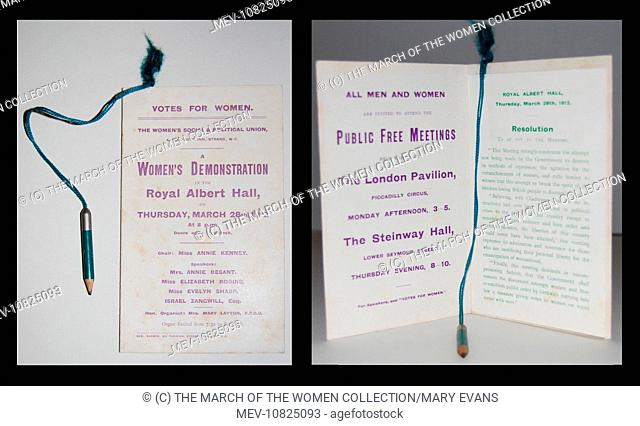 A W.S.P.U programme for a 'Women's Demonstration' at the Royal Albert Hall, 28th March 1912. Printed in purple with green pencil attached with green ribbon