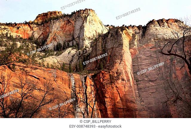 Temple of Sinawava Red White Rock Wall Zion Canyon National Park Utah Southwest