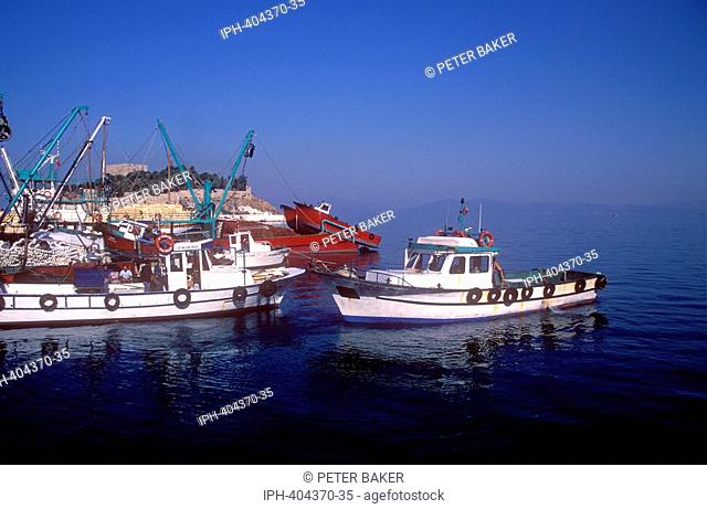 The fishing harbour with view of Bird Island at Kusadasi