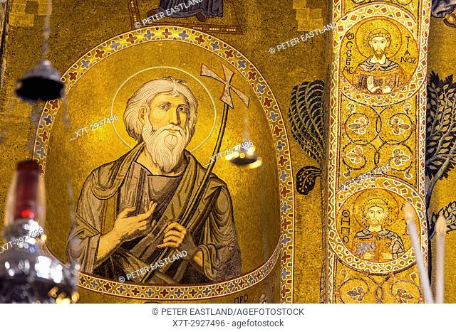 Detail of 12th Century Mosaics decorating the interior of the Palantine chapel in the Palazzo dei Normanni, Central Palermo. Sicily
