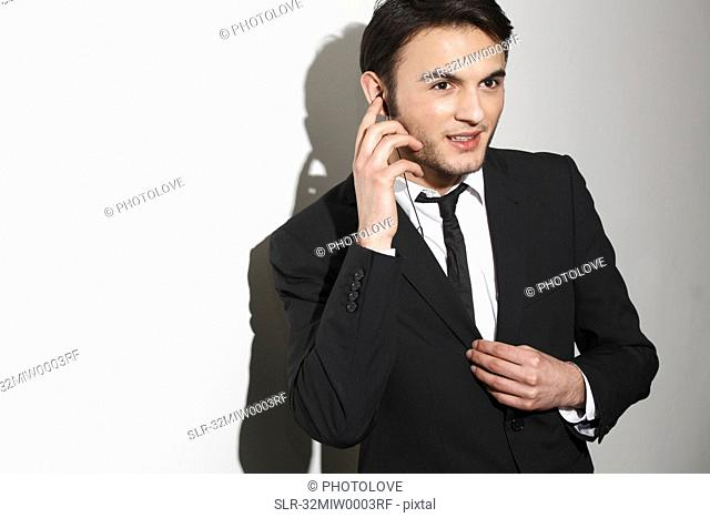 Businessman talking on headset