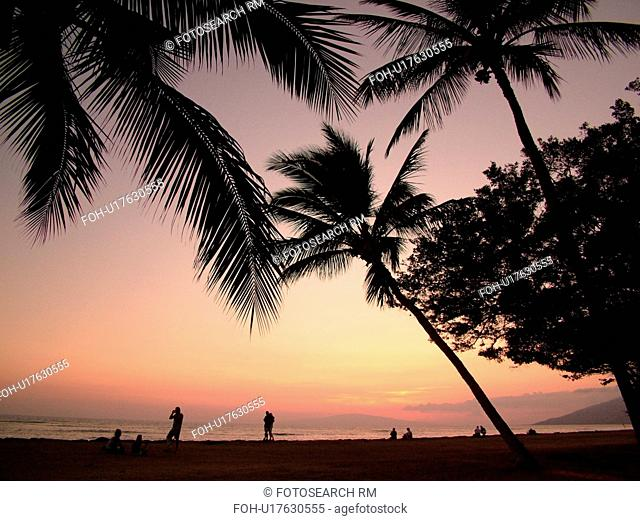 Kihei, Maui, HI, Hawaii, Leeward Coast, Maalaea Bay, Kamaloe, Kamaloe beach, sunset, Southwestern Coast