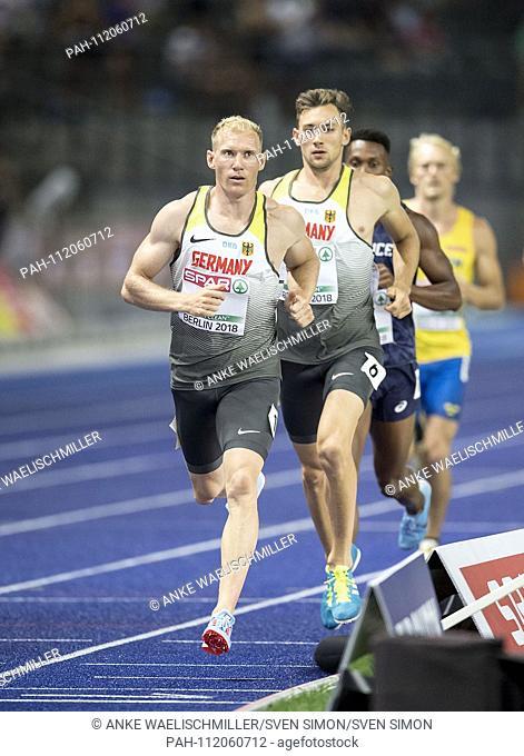 Winner Arthur ABELE (1st place / Germany), ahead of Niklas KAUL, Germany, 4th place, action. Decathlon 1500m, on 08.08.2018 European Athletics Championships...