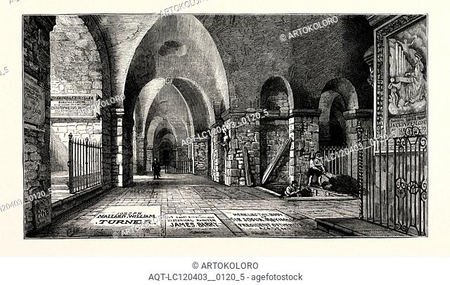 THE FUNERAL OF THE LATE SIR EDWIN LANDSEER: THE ARTISTS' CORNER IN THE CRYPT OF ST. PAUL'S CATHEDRAL, LONDON, UK, 1873 engraving
