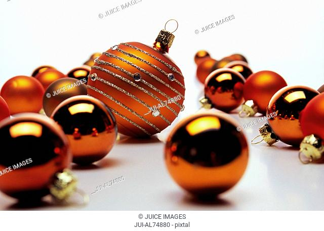 Detail view of one large Christmas ornament amongst smaller ones
