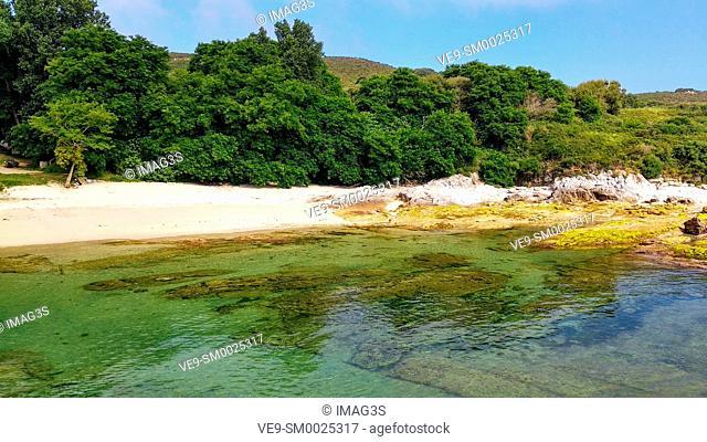 Beach in Ons island, Islas Atlánticas National Park, Pontevedra, Galicia, Spain