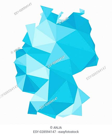 polygonal blue map of Germany