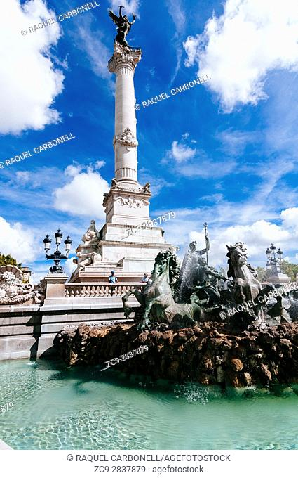Mythical horses and human figures on Monument Aux Girondins Fountain, Bordeaux, France