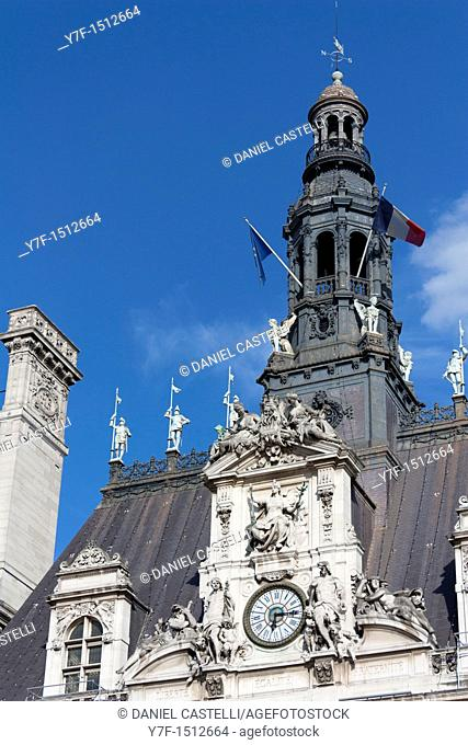 Clock of the town hall of Paris,France
