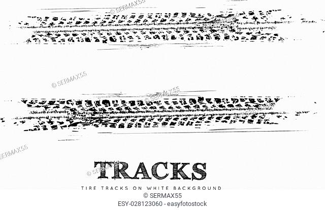 Tire tracks vector background in black and white style. Illustration. can be used for for posters, brochures, publications, advertising, transportation, wheels