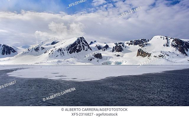 Sea Ice and Snowcapped Mountains, Albert I Land, Arctic, Spitsbergen, Svalbard, Norway, Europe