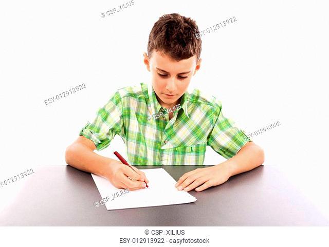 Schoolboy at exam