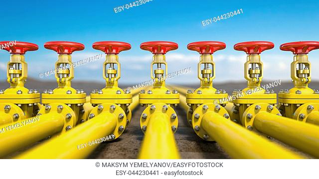 Yellow gas pipe line valves. Oil and gas extraction, production and transportation industrial background. 3d illustration