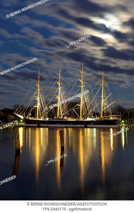 sailing ship Passat with moon at night, Travemünde, Schleswig-Holstein, Germany