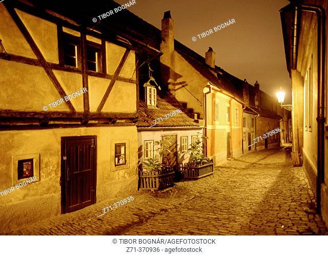 Golden Lane, Castle district. Prague, Czech Republic