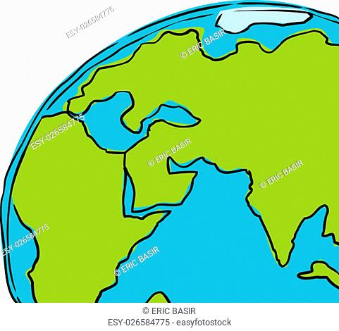 Hand drawn cartoon of the planet earth cropped to include African, Europe and India