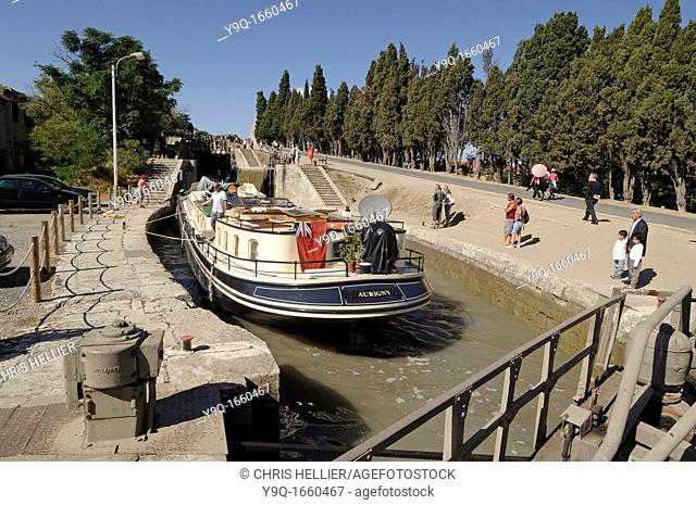 Canal Boat or Narrowboat in Lock Neuf Ecluses on the Canal du Midi at Beziers France
