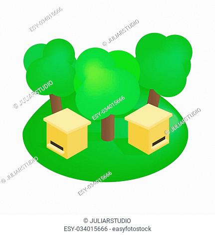 Wooden beehive in the forest isometric 3d icon on a white background