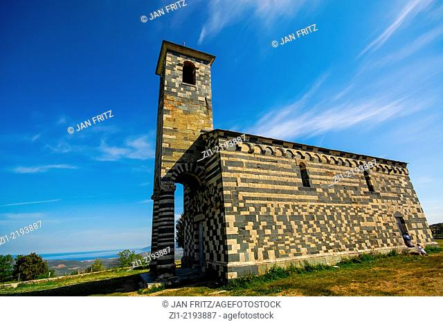 the beautiful Romanesque church in white and green built 1280 of Murato in Nebbio district on Corse, France
