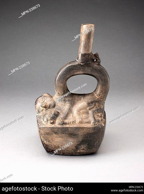 Stirrup Spout Vessel Depicting Reclining Figures - A.D. 1100/1470 - Chimú North coast, Peru - Artist: Chimú, Origin: North Coast, Date: 1100-1470
