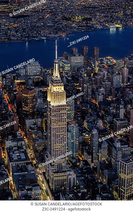 Empire State Building Aerial View - Aerial view during twilight to the Empire State Building ESB and 34th Street. This higher vantage point shows the entire...