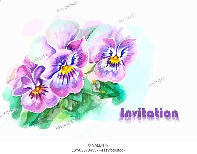 Invitation with pansy flowers. Watercolor painting