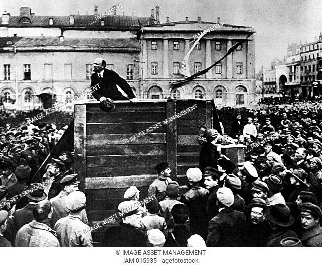 Lenin in Red Square. Vladimir Ilyich Lenin  1870 – 1924. Russian revolutionary and communist politician who led the October Revolution of 1917