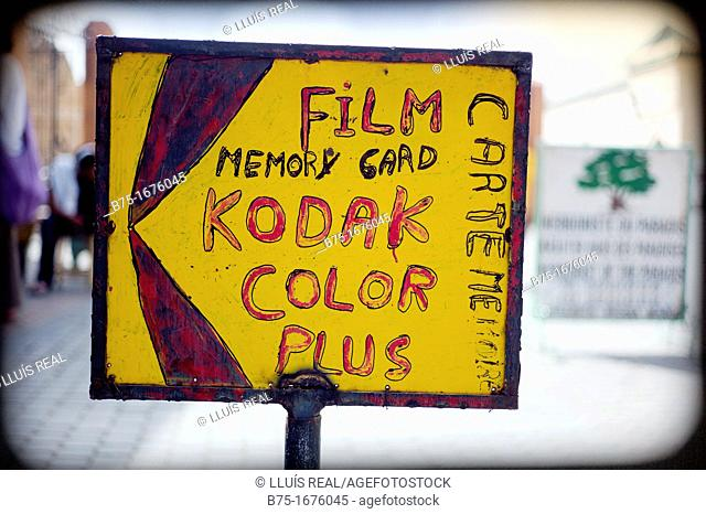 Handwritten announcement of Kodak color film in Marrakech, Morocco, Africa