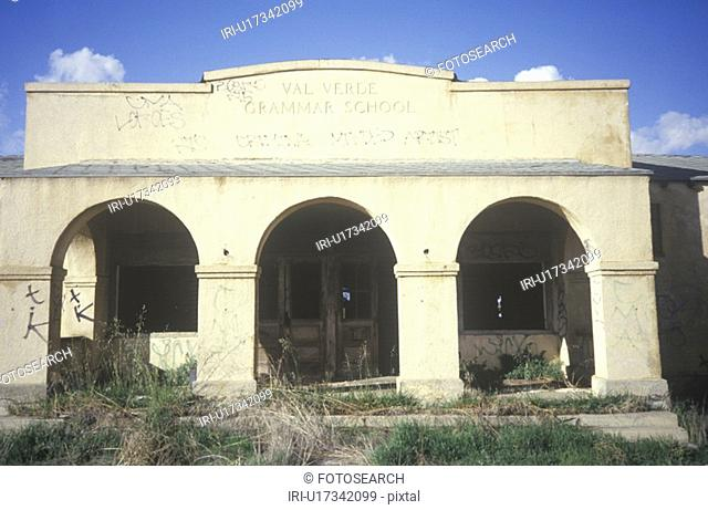 The archways of a deserted school