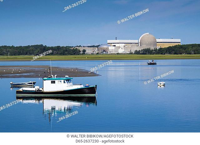 USA, New Hampshire, Seabrook, fishing boats and Seabrook nuclear energy plant
