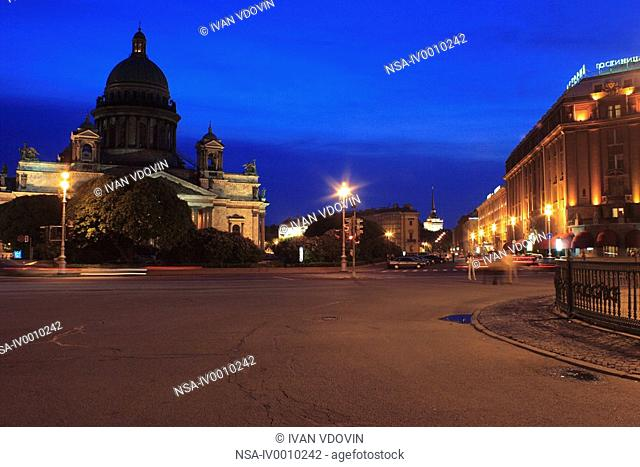 St. Isaac's cathedral at night, St. Petersburg, Russia