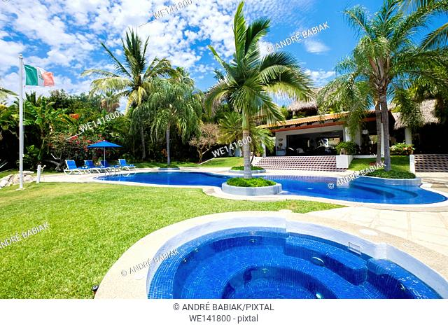 Upscale Mexican Residence, Jacuzzi hot tub and swimming pool at luxury home, Punta de Mita, Riviera Nayarit, Mexico