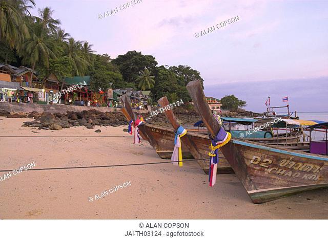 Traditional longtail boats, Ao Ton Sai (Ton Sai Bay), Ko Phi Phi, Thailand