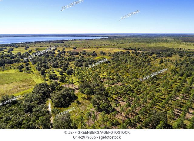 Florida, Kenansville, Lake Marian Highlands, Three Lakes Wildlife Management Area, Sunset Ranch Interpretive Trail, aerial overhead bird's eye view above