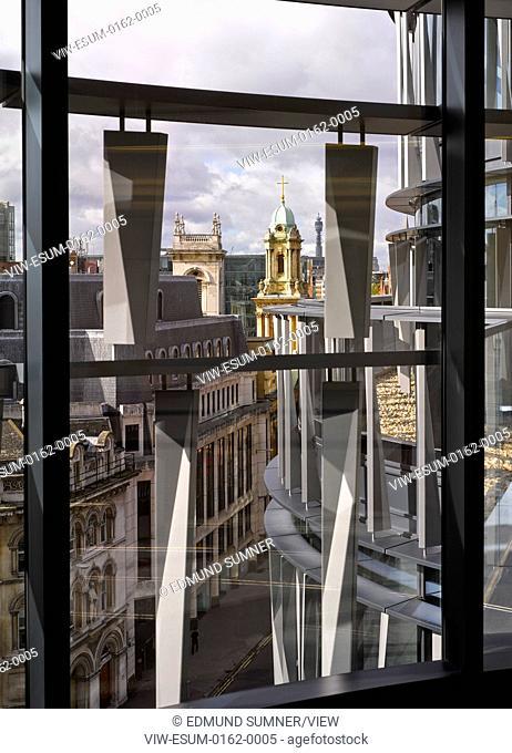 60 London at Holborn Viaduct, London, United Kingdom. Architect: Kohn Pedersen Fox Associates (KPF), 2014. Facade detail from within
