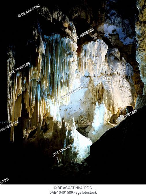 Interior of the Frasassi Caves, Gola della Rossa and Frasassi Regional Natural Park, Marche, Italy