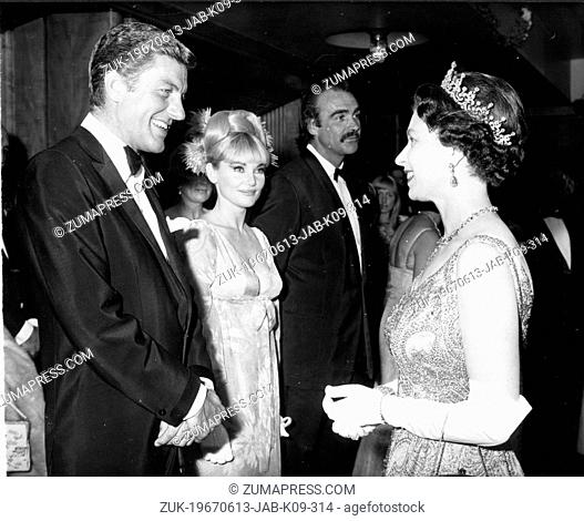 June 13, 1967 - London, England, U.K. - Actor DICK VAN DYKE, actress DIANE CILENTO, and SEAN CONNERY meets QUEEN ELIZABETH II at the World Charity Premiere of...