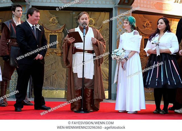 """Two """"""""Star Wars"""""""" Fans Get Married In The Forecourt Of The TCL Chinese Theatre Featuring: Andrew Porters, Caroline Ritter Where: Hollywood, California"""