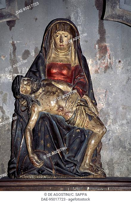 Pieta or Virgin of pity, polychrome wooden statue, 15th century, Cathedral of Our Lady of the Assumption, Clermont-Ferrand, Auvergne-Rhone-Alpes, France