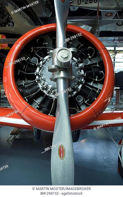 Motor of an old airplane in the Verkehrshaus der Schweiz, Lucerne, Canton Lucerne, Switzerland