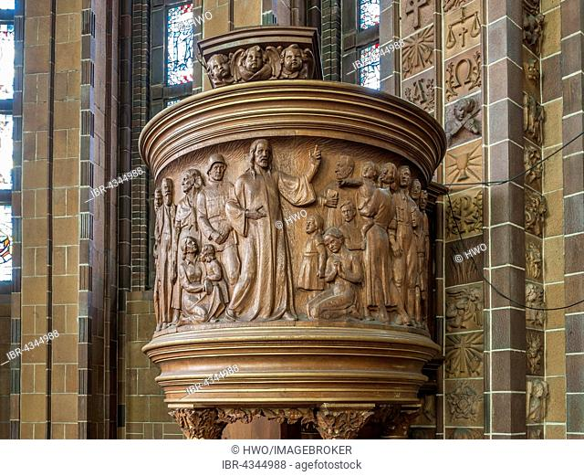 Wooden pulpit with Nazi symbolism, soldier, SA-man and Hitler Youth, Sermon on the Mount, Martin Luther Memorial Church, 1933 to 1935, indoors, Berlin, Germany