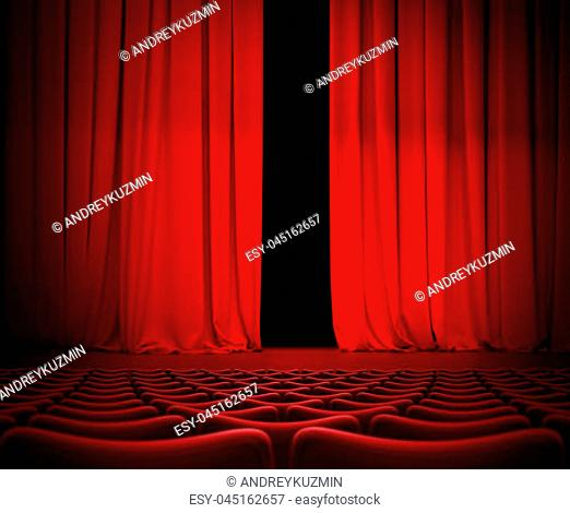 Open theater red curtain on stage