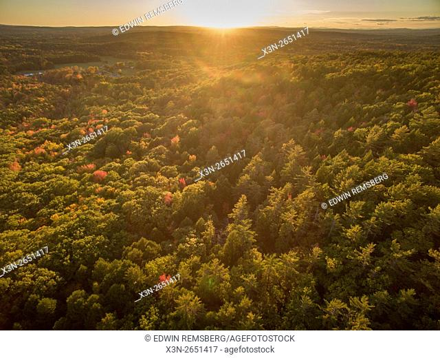 Aerial view of fall foliage near Bradbury Mountain, Maine