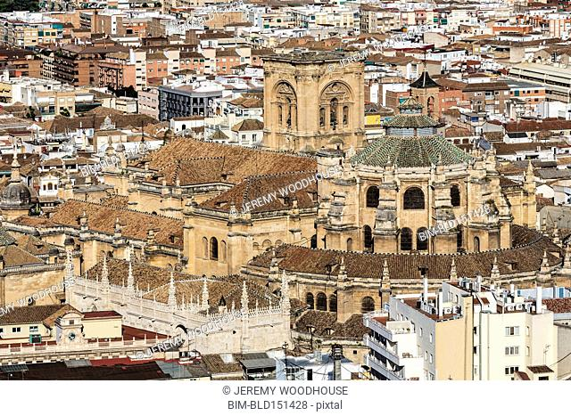 High angle view of cathedral and ornate architecture, Granada, Andalusia, Spain